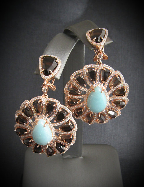 Smoky Topaz With Turquoise 14KT Rose Gold Plated Sterling Silver Earrings