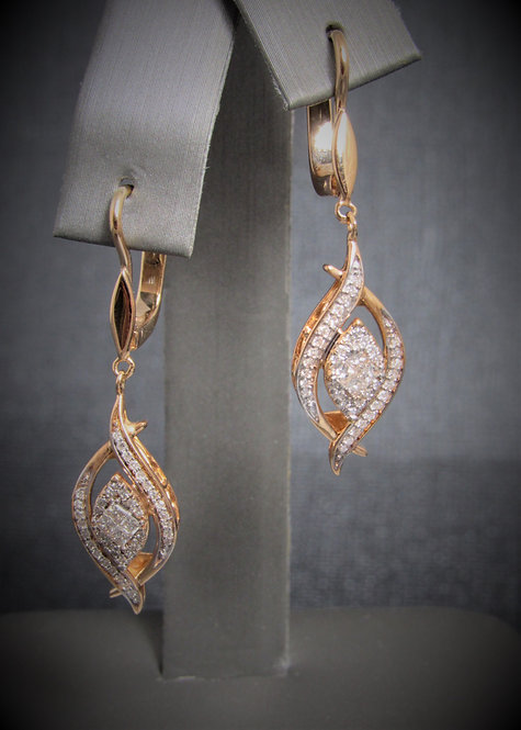 14KT Rose Gold Diamond Cluster Style Dangling Earrings