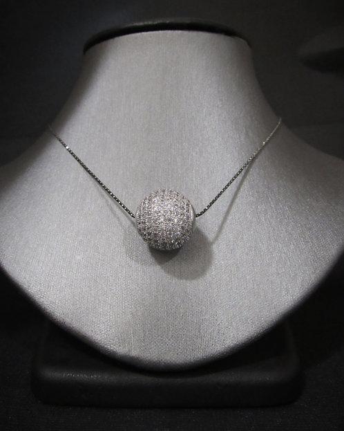 Pavé White Topaz Ball Sterling Silver Necklace