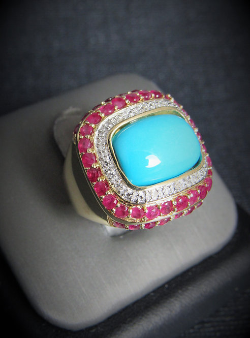 14KT Yellow Gold Diamond Ruby And Turquoise Ring
