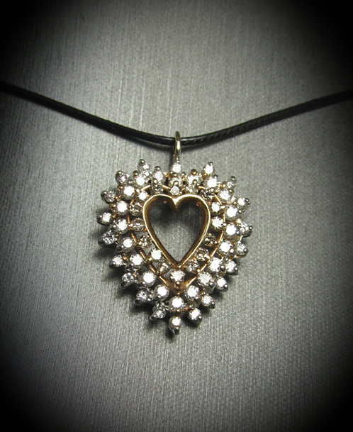 14KT White & Rose Gold Diamond Heart Pendant Necklace