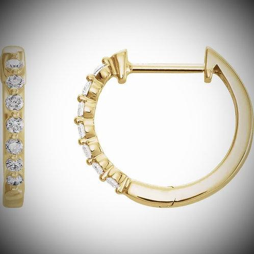 14KT Yellow Gold Diamond Hoop Earrings