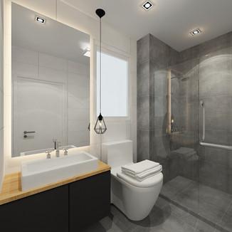 modern contemporary themed bathroom concept