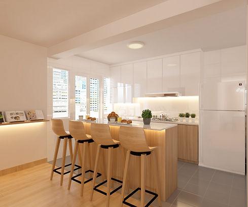 Minimalist open concept kitchen design for HDB