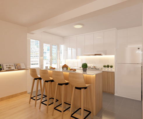 Zen Minimalist kitchen renovation 5 room HDB