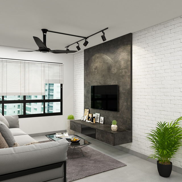 Industrial themed living room @ Sengkang