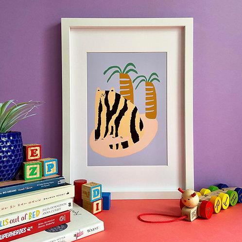 Cat & Palms Print