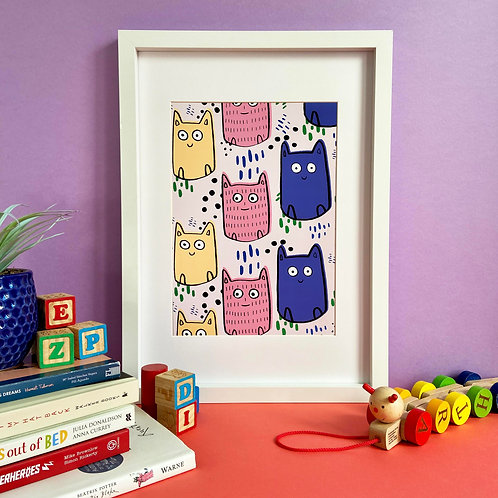 Colourful Cats Print