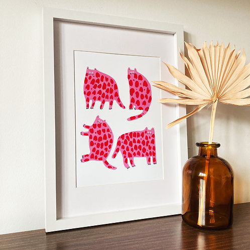 Pink & Red Cats Print