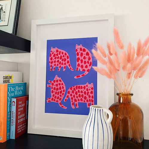 Pink & Red Cats Print (Blue)
