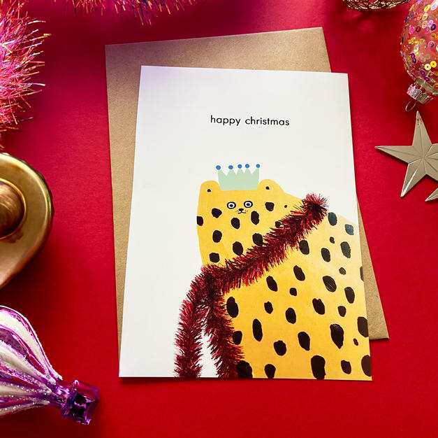 Christmas Tinsel Cat Card