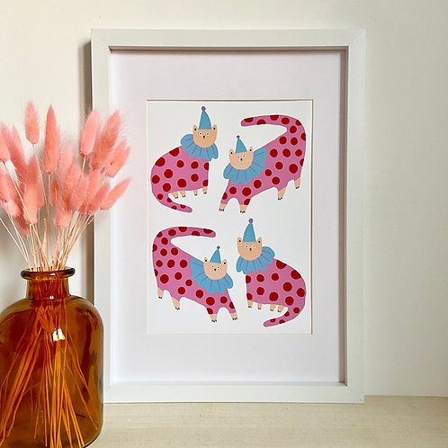 Clown Cats Print