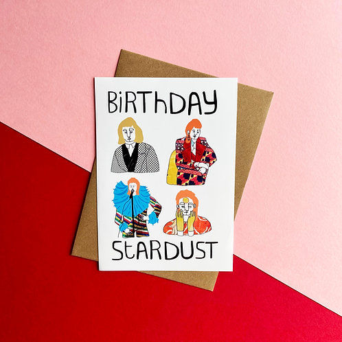Birthday Stardust White Card