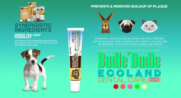 Budle Budle Ecoland Dental Care Toothpaste is best method of ensuring that our dogs and pets will enjoy good dental health. Daily brushing with this Ecoland Dental Care Toothpaste provides very best in home dental care for your pets. The toothpaste is especially formulated to be safe, effective, and appealing to your dogs or pets.   Whiten and brighten your dog's teeth with 'Budle Budle Ecoland Dental Care Toothpaste'. Powerful enzymes break down and help prevent tartar buildup, while baking soda deeply cleans and deodorizes your dog's teeth, gums and mouth. Let your canine companion flash a bright, white smile.  Budle Budle Ecoland Dental Care Toothpaste formulated with Tea Tree Leaf and Rosemary Leaf.  It provides natural anti-bacterial action and to inhibit the formation of plaque.  It helps eliminate your pets' mouth odor. Safe for pets to swallow.  Freshens breath and gently cleans away plaque and tartar.