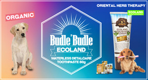 Budle Budle Ecoland Waterless Dental Care Toothpaste is the best method of ensuring that our dogs and pets will enjoy good dental health. Daily brushing with this Budle Budle Ecoland Waterless Dental Care Toothpaste provides very best in home dental care for your pets. The toothpaste is specially formulated to be safe, effective, and appealing to your dogs or pets.   Whiten and brighten your dog's teeth with Budle Budle Ecoland Waterless Dental Care Toothpaste. Powerful enzymes break down and help prevent tartar buildup, while baking soda deeply cleans and deodorizes your dog's teeth, gums and mouth. Let your canine companion flash a bright, white smile.  Our Toothpaste formulated with Tea Tree Leaf and Rosemary Leaf.  It provides natural anti-bacterial action and to inhibit the formation of plaque. It freshens your dog's mouth and gently cleans away plaque and tartar.