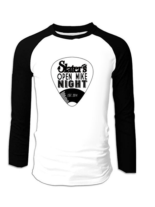 Open Mike Night Slater's Baseball tee B&W