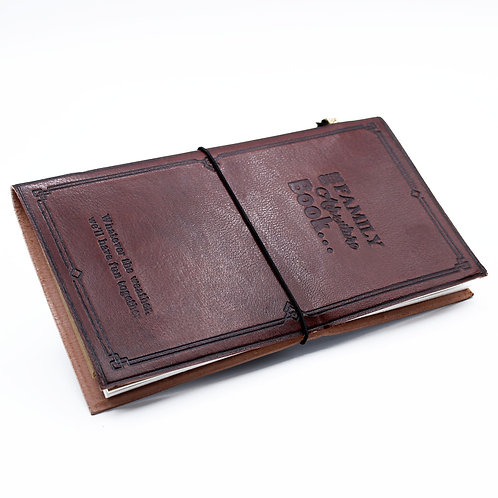 Handmade Leather Journal - Our Family Adventure Book - Brown (80 pages)