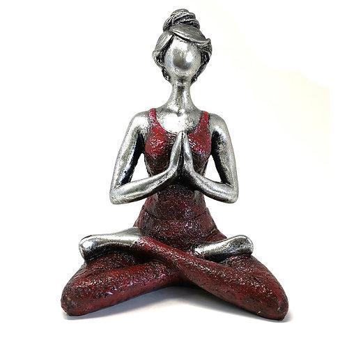 Lotus Lady Figure - SILVER & BORDEAUX 23cm