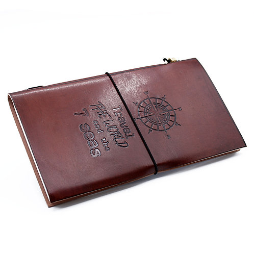 Handmade Leather Journal - Travel the World - Brown (80 pages)