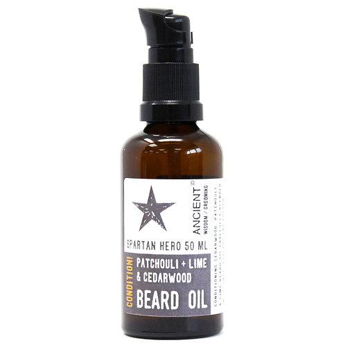 Pure & Natural Beard Oils - Spartan Hero | PATCHOULI + LIME + CEDARWOOD