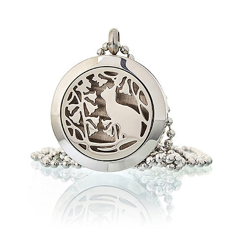 Aromatherapy Diffuser Necklace -CAT & FLOWERS 25mm