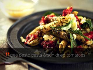 Pea pesto pasta with sun-dried tomatoes (Vegan + GF)