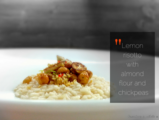 Lemon risotto with almond flour and crunchy chickpeas and bulgur