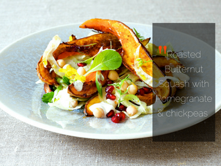 Roasted Butternut Squash with Pomegranate & Chickpeas