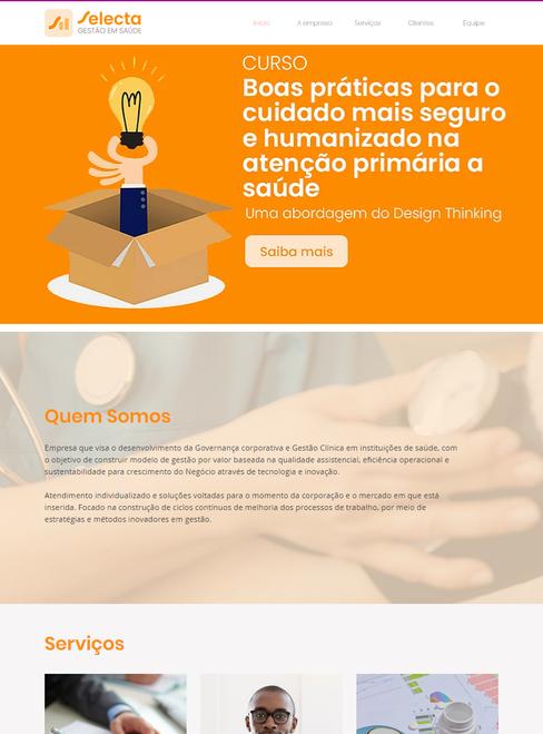 Web Site Selecta Gestão em Saúde