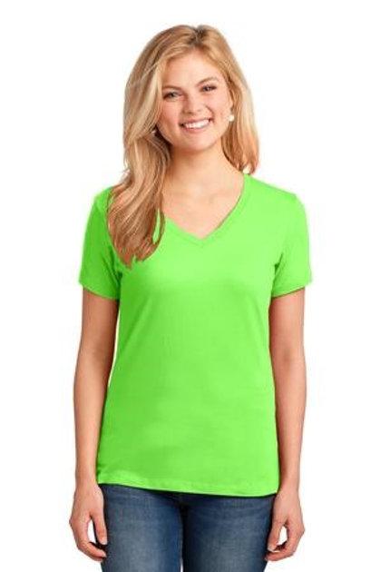 Neon Green Ladies V-Neck Tee