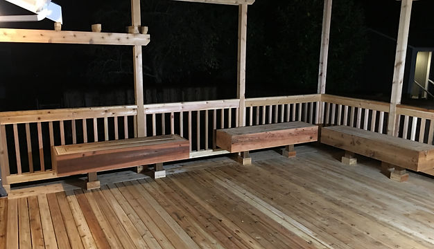 custum cedar deck and cedar handrail with trellis
