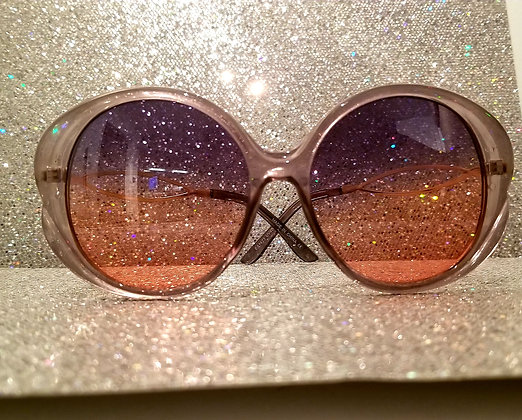 Round Ombre blue and pink sunglasses
