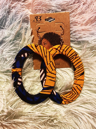 Blue & Yellow Fabric Earrings