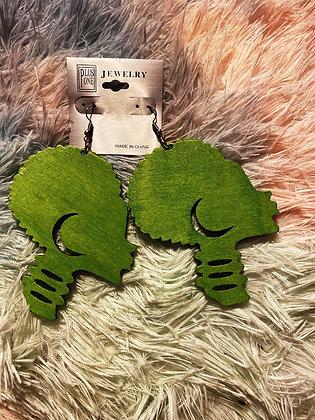 Green Afro Earrings