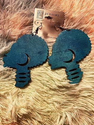 Blue Afro Earrings