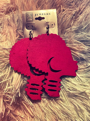 Pink Afro Earrings