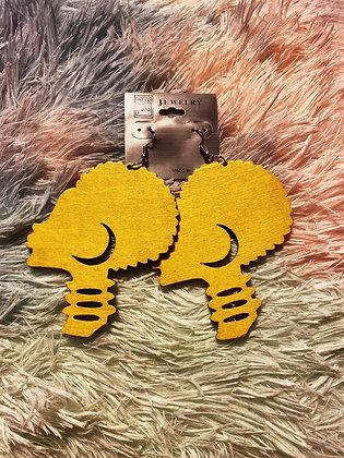 Yellow Fro Earrings