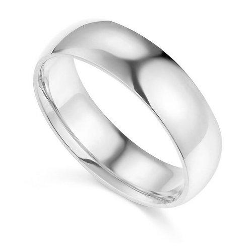 14k White Gold 6-mm Comfort-fit Polished Wedding Band
