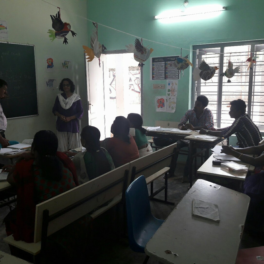 Praveena teaching the teachers