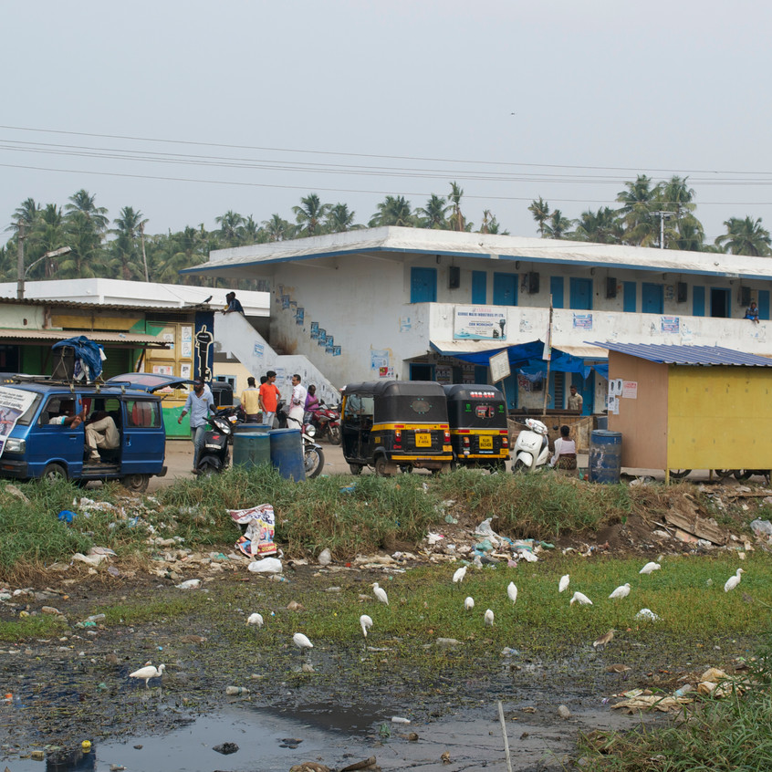 Waste dump next to the road