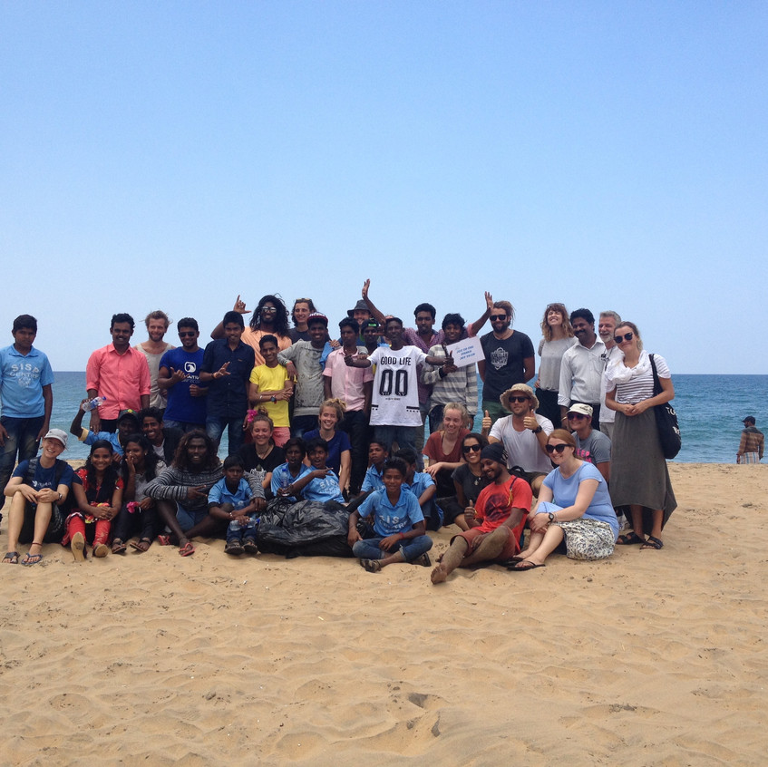 Beach clean-up team