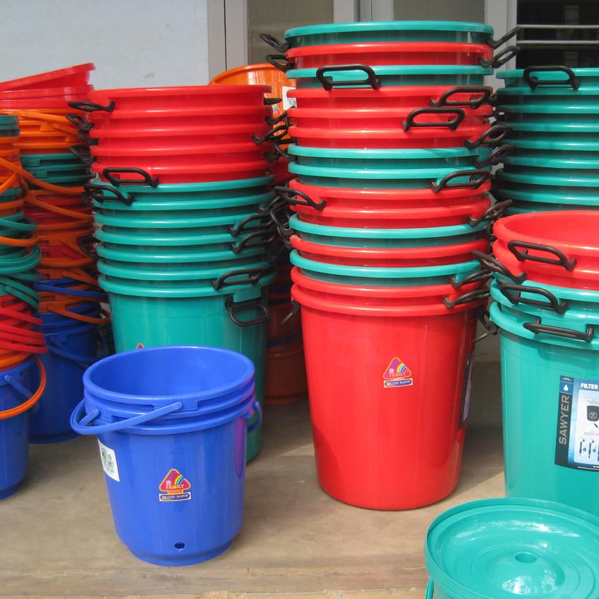 Buckets ready for installation