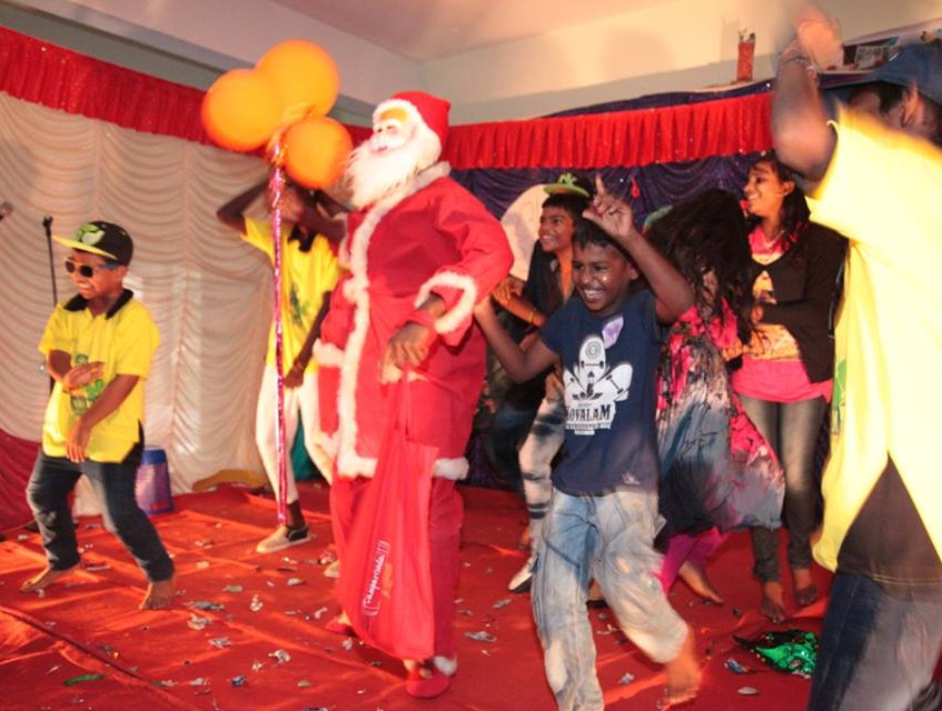 Crazy dance with Santa Clause