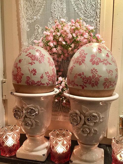 Deco Ei met Bloemetjes Roze 🌸 Verkocht