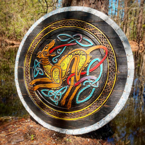 Celtic Hound Hand Painted Shield