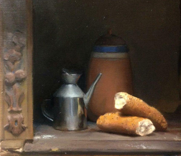 Traditional academic oil painting chariscuro using limited palette at barcelona academy of art