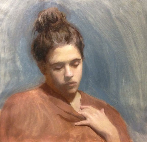 Maria, 50x50, Oil on canvas oil painting, portrait, commission, academic, from life
