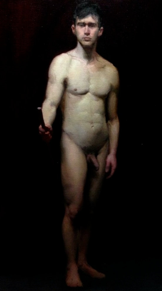 Contemporary lon pose academic paining from life, study at barcelona academy of art, john bissett