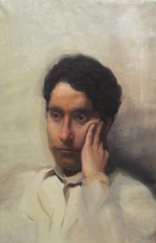 Contemporary oil portrait painting, academic art, Barcelona academy of art, best student, traditional portrait painting