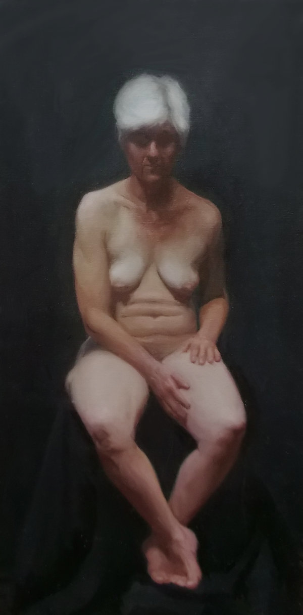 Amanda pink oil painting, figure painting Barcelona academy of art, Long pose oil painting contemporary academic paiting inspired by jenny saville